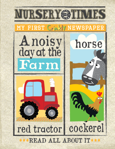 A DAY ON THE FARM crinkly newspaper