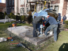 Donated to Columbia University by a private collector, Henry Moore's Recling Figure required conservation treatment.   The bronze sculpture was repatinated and recoated with a microcrystalline wax before being installed on a new granite base.