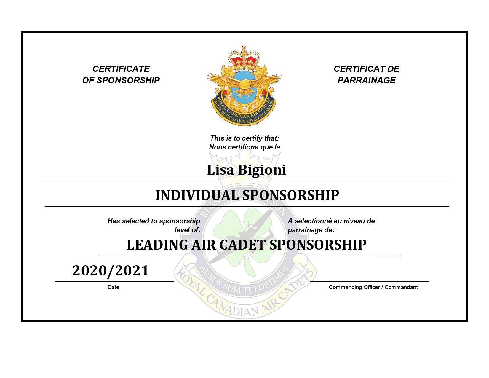 Sponsorship Certificate - Lisa Bigioni-p