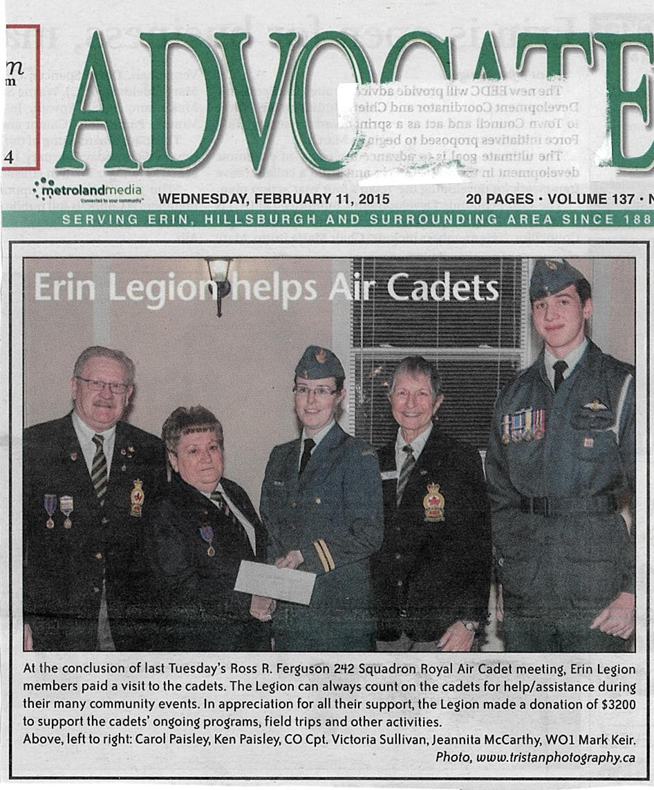 Advocate Wednesday, February 11, 2015 - Legion Presentation of Cheque to Cadets.