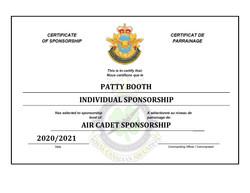 Sponsorship Certificate - Patty Booth-pa