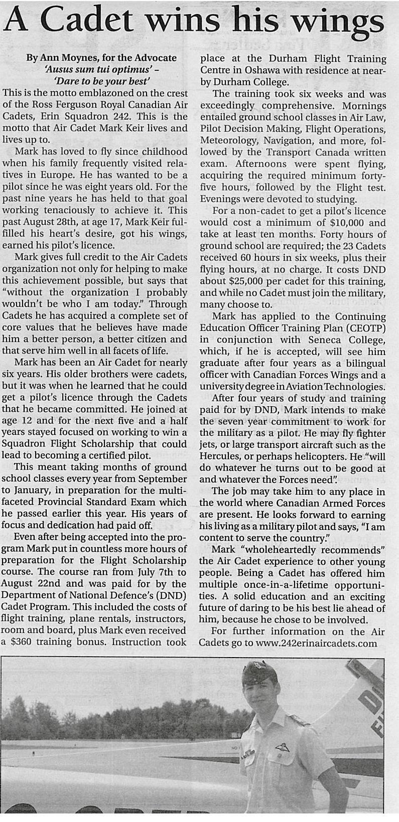 Erin Advocate Article - WO1 Mark Keir November 12 2014 - earns his wings.jpg