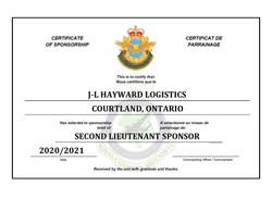 Sponsorship Certificate - J-L Hayward Lo