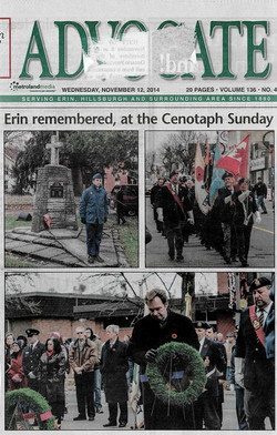 Erin Advocate Nov 12 Remembrance Day 2014 - Cenotaph Ceremony - Sgt Irving Kerr