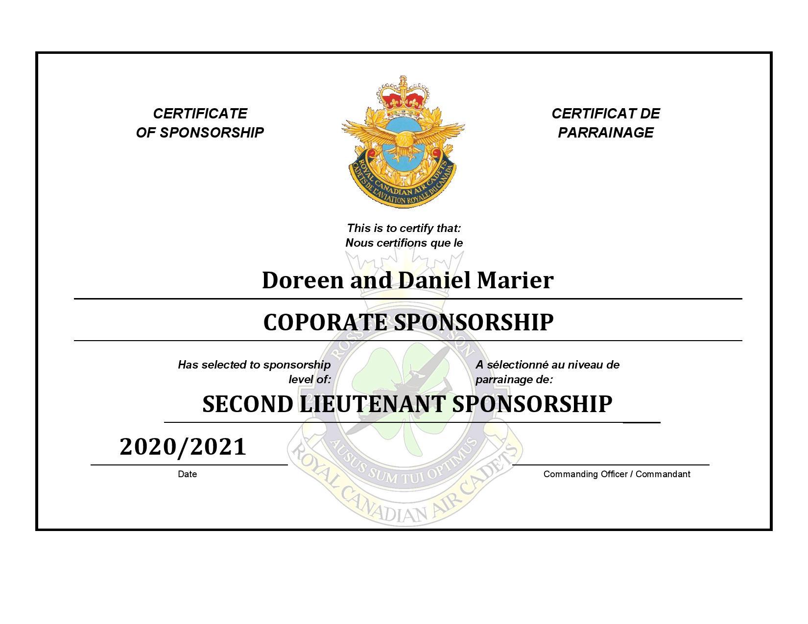 Sponsorship Certificate - Dan and Doreen