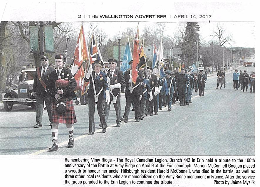 Vimy Ridge Memorial Parade