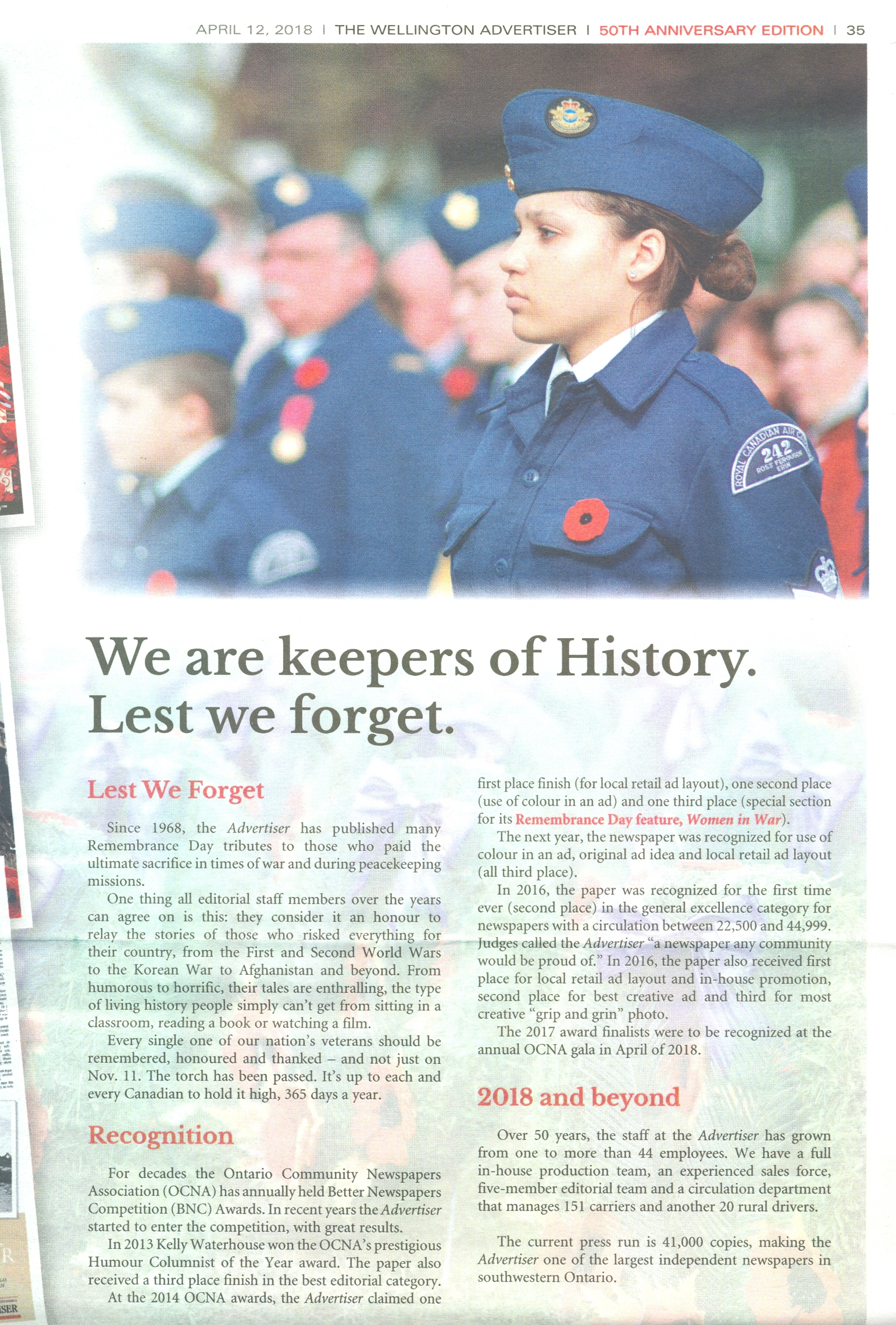 The Wellington Advertiser - 12 April 2018 - We are keepers of History (1)
