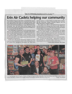 Erin Air Cadets Helping our Community - Dec 26 2014 The Advocate.jpg