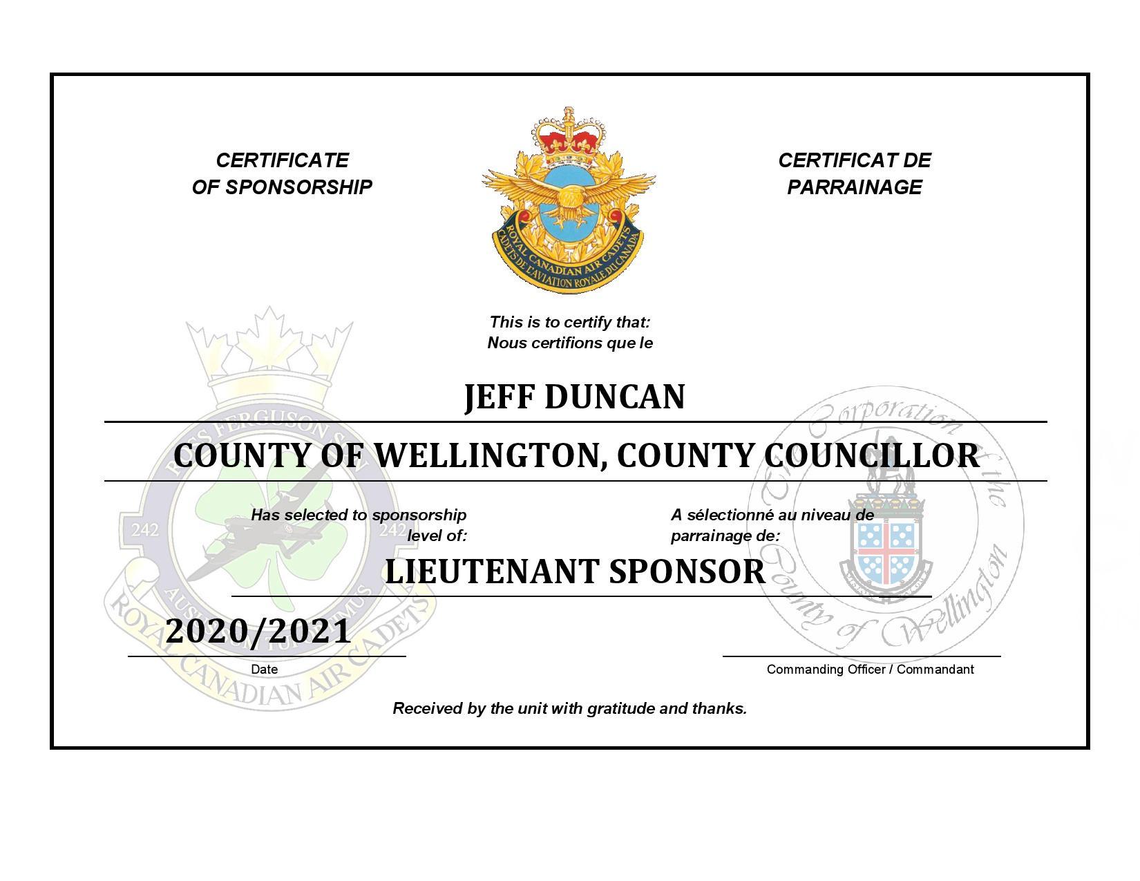 Sponsorship Certificate - Jeff Duncan-pa