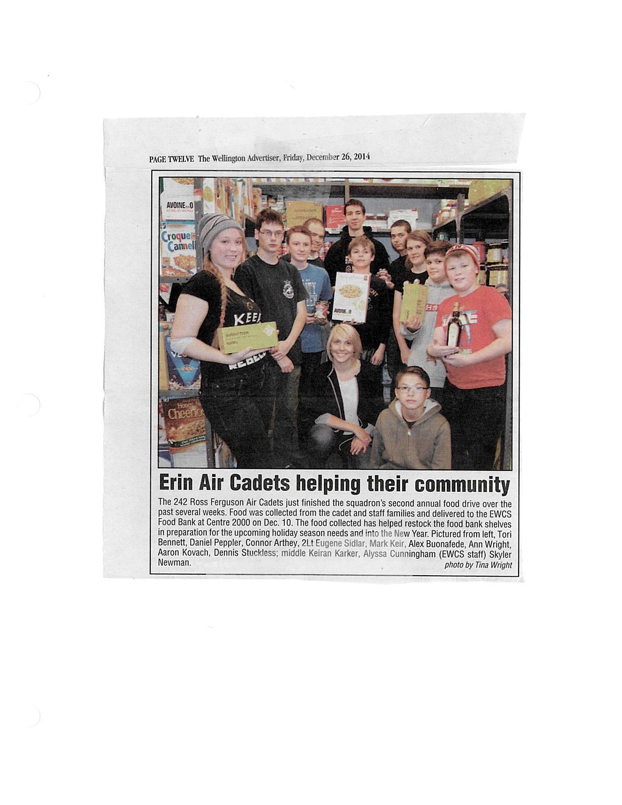 Erin Air Cadets Helping Their Community - Dec 26 2014 Wellington Advertiser.jpg