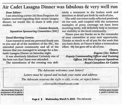 Advocate Article March 4 2015 - Lasagna Dinner Letter to the Editor.jpg