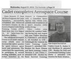 Aug 31 The Advocate - article Dana Bennett Aerospace Course
