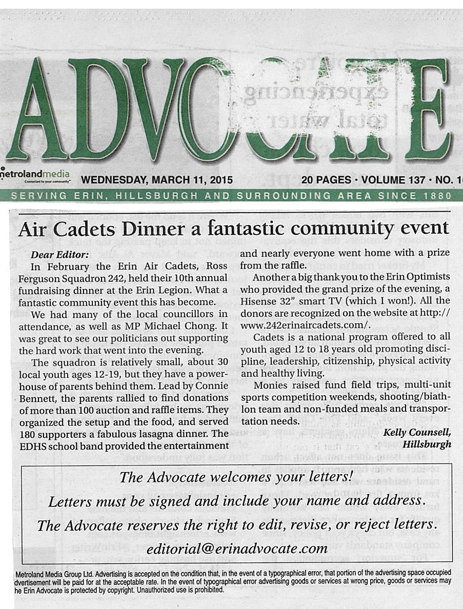 Advocate March 11 2015 - Lasagna Dinner a Fantastic Community Event - Letter to