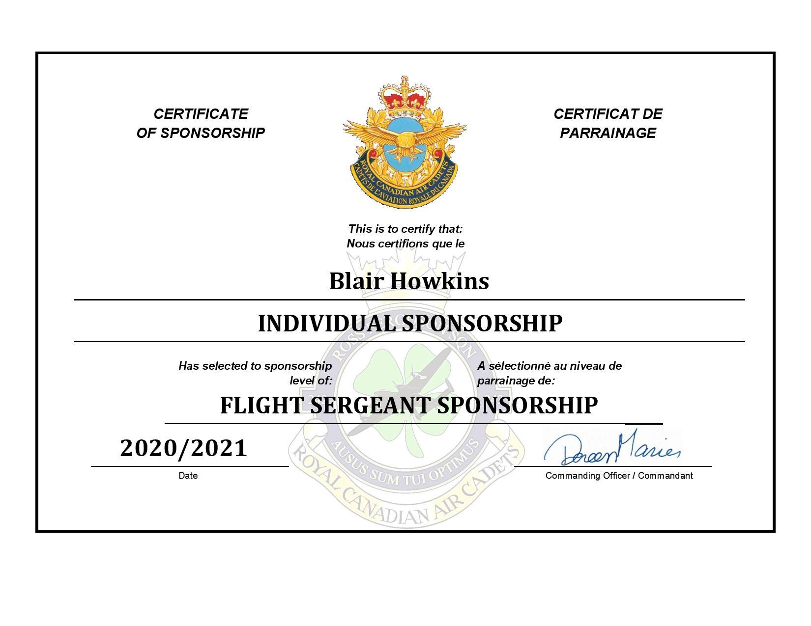 Sponsorship Certificate - Blair Howkins-