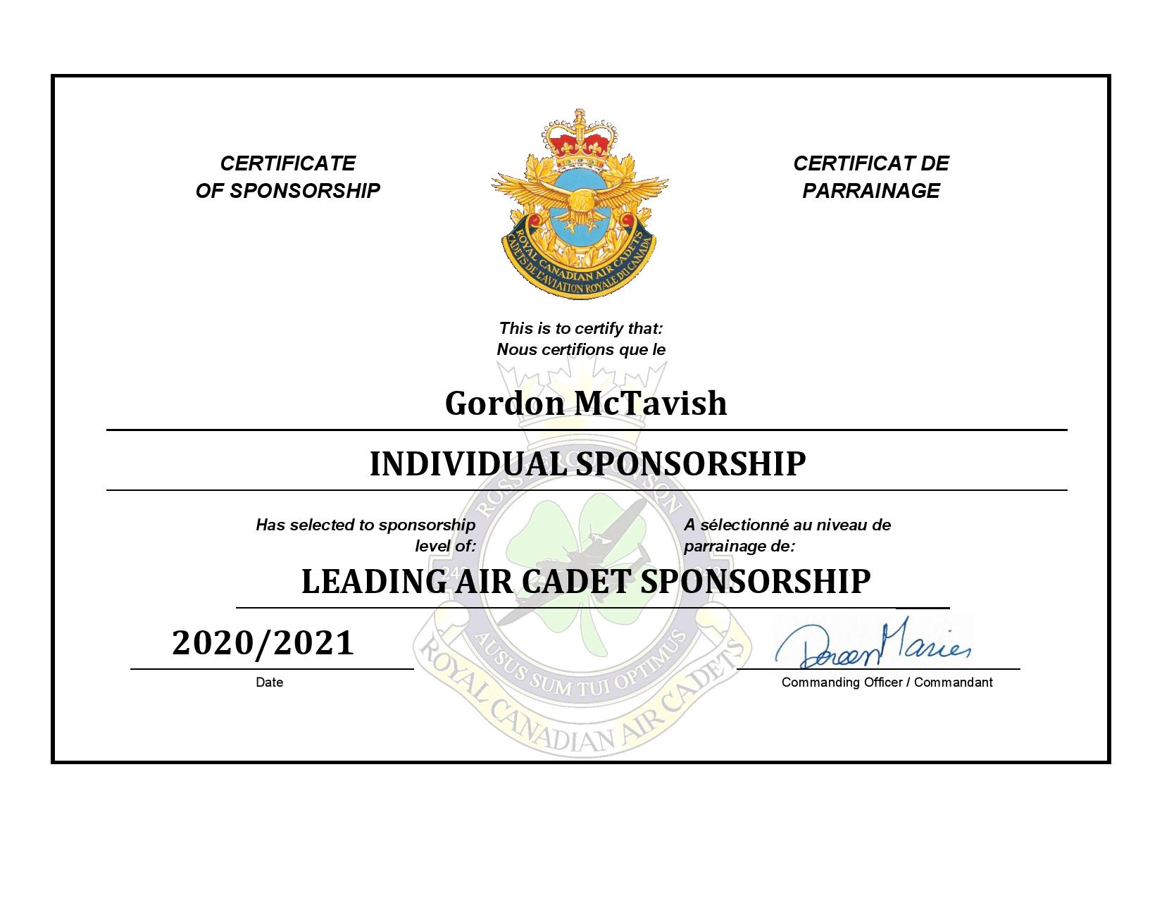 Sponsorship Certificate - Gordon McTavis