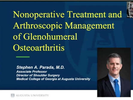 Management of Glenohumeral Osteoarthritis in Young Active Patients- SOMOS Webinar Jan 2021