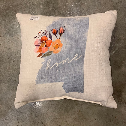 Grey MS with Pink Flower - Mississippi Made Pillow