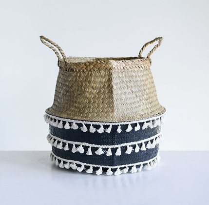 Beige & Black Natural Seagrass Basket w/Handles & White Tassels DA8868