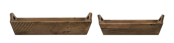 Rectangle Fir Wood Trays with Handles (Set of 2 Sizes) DF2819