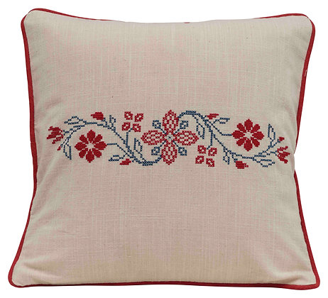 Square Floral Cross-Stitch Cotton Pillow with Piped Trim DF2560