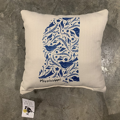 Blue Bird Pattern -Mississippi Made Pillow
