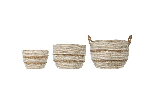 Beige & Brown Maize Baskets with Leather Handle (Set of 3 Sizes)  DF1937