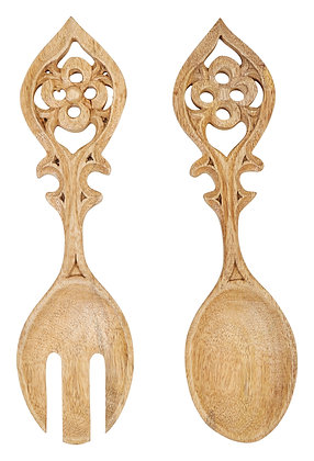 Hand-Carved Mango Wood Salad Servers (Set of 2 Pieces) DF2278