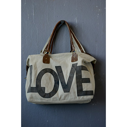 """Canvas """"Love"""" Tote with Leather Handle and Adjustable Strap  DA6276"""