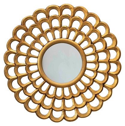 "23.5"" Round Hand-Carved Scalloped Wood Wall Mirror DF2302"
