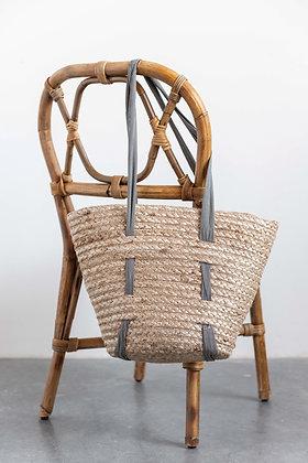 15L x 12H Woven Jute Marbella Tote bag w/fabric handles EM0523