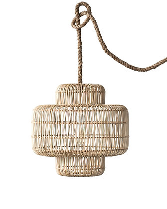 Round Wicker Pendant Light with Thick Rope Cord  DF0418