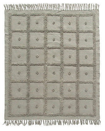 Grey Cotton Chenille Throw with Fringe  Df1651
