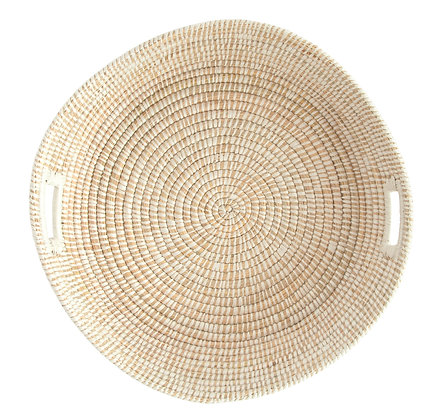 White Handwoven Grass Basket with Handles DF1610
