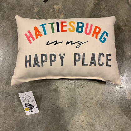 Hattiesburg is my Happy Place -Mississippi Made Pillow