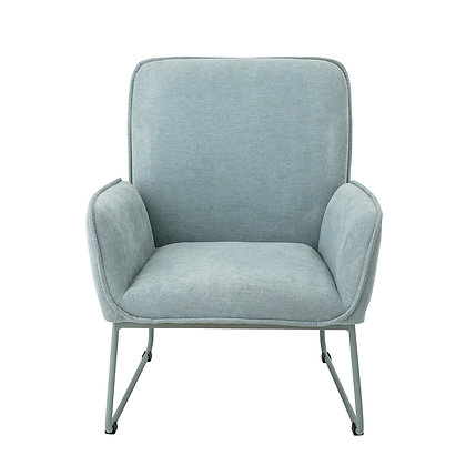 Mint Green Upholstered Chair with Matching Powder Coated Metal Legs