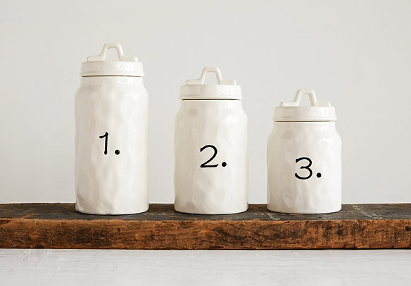 White Ceramic Canisters with Numbers (Set of 3 Sizes) DA8643