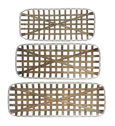 Rectangle Open Weave Wood Baskets with White Rim (Set of 3 Sizes) DF1098
