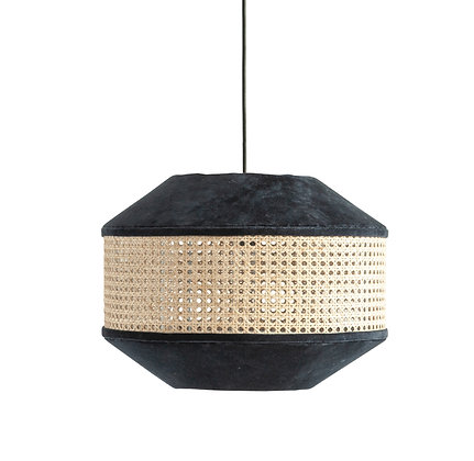 Navy Cotton Velvet & Cane Pendant Light  DF2204