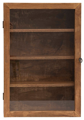 "24""H Mango Wood Cabinet with 3 Shelves & Glass Door DF2253"