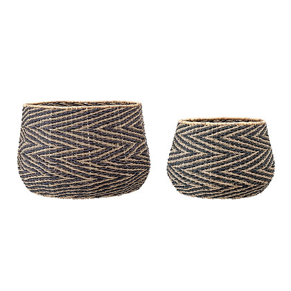 Handwoven Black & Natural Chevron Patterned Seagrass Baskets (Set of 2 Sizes)