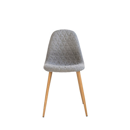 Grey Upholstered Chair with Diamond Stitching & Oak legs AH0971