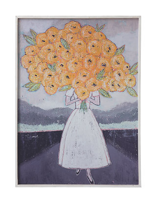 Girl Holding Flowers Wood Framed Wall Décor DF0187