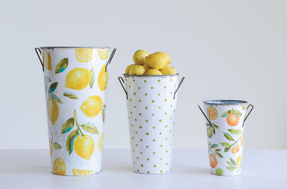 Metal Buckets with Lemons & Oranges (Set of 3 Sizes/Designs) DA9217