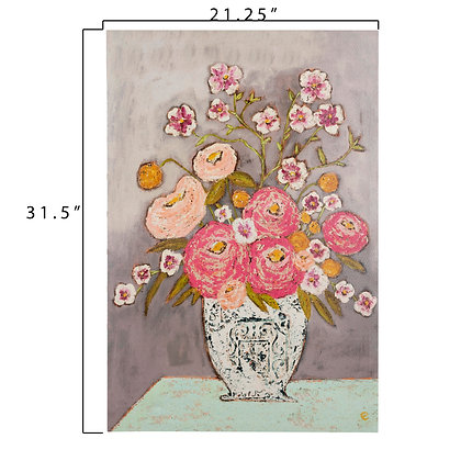 Pink Flowers in Vase Wrapped Canvas Wall Art DF1140