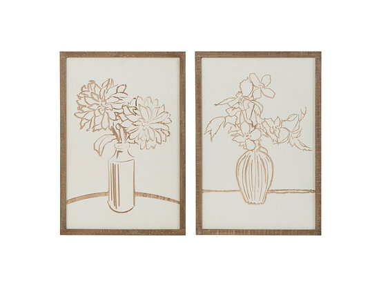 Floral Scratch Art Wood Wall Décor (Set of 2 Styles)