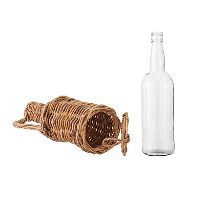 Glass Bottle with Removable Woven Rattan Jacket  DF2257