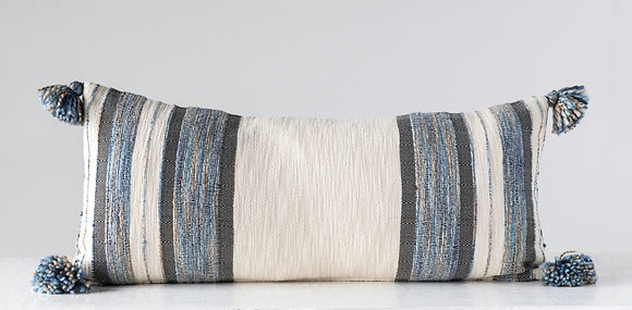 Blue, Grey & Cream Striped Cotton Blend Lumbar Pillow with Tassels DF1634
