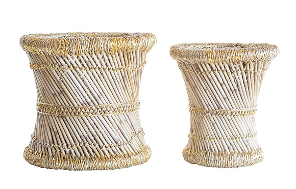 Bamboo & Yellow Rope Stools (Set of 2 Sizes)