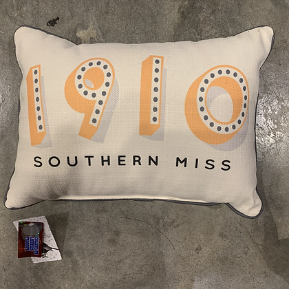 1910 USM Piped Grey -Mississippi Made Pillow