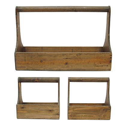 Set of 3 Rectangle Wood Planter Baskets with Handles GRD1984
